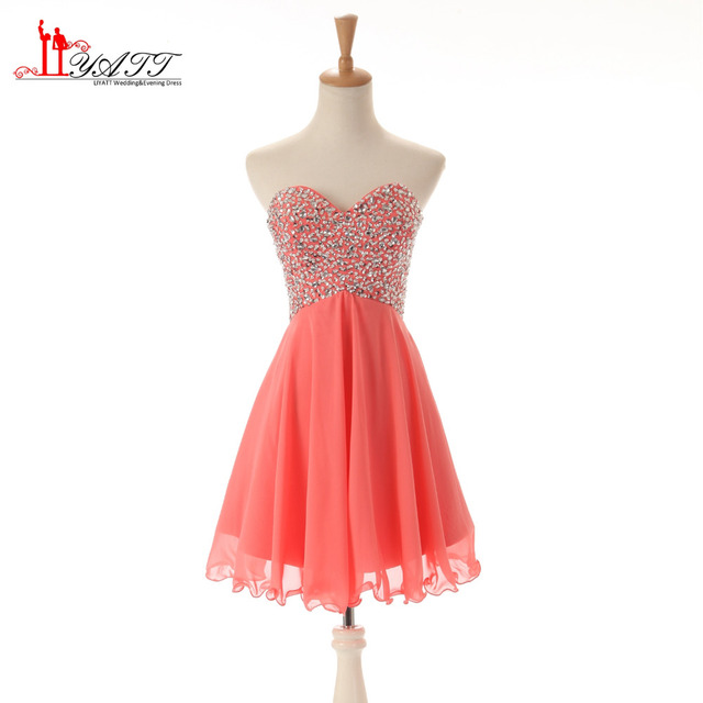 Vestido Coral Bridesmaid Dresses Short 2017 Sexy Sweetheart Beaded Prom Dress Bridesmaid Dress Cheap Girl Formal Gown In Bridesmaid Dresses From