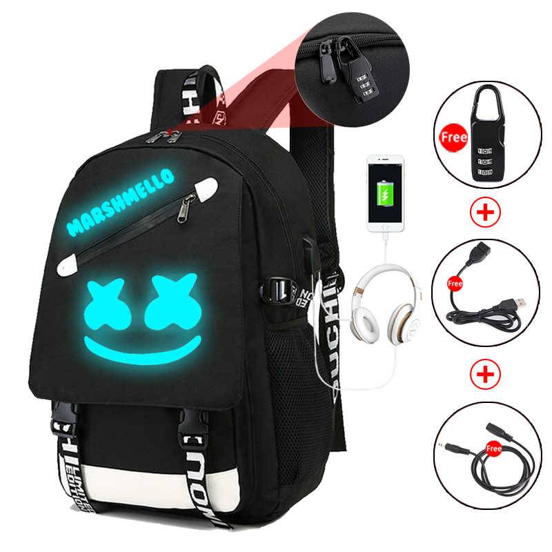 Fashion luminous DJ Marshmallow of student for  teenager student backpack USB charging laptop anti theft school bags