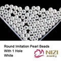 White Straight Hole Round Pearl Beads 6mm 8mm 10mm Round Pearl Beads For Jewelry Making Resin Imitation Pearl Beads 18g/bag