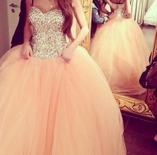 Vestido De Quinceanera 2014 Luxury Crystal Beaded Dresses Debutante Gowns Sweet Sixteen Vestidos 15 Anos