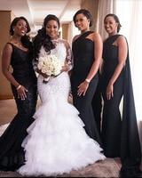 Long Sleeves Mermaid Wedding Dress Pearls Beading Wedding Gown O Neck Ruffles Tiere Bride Dress de noiva