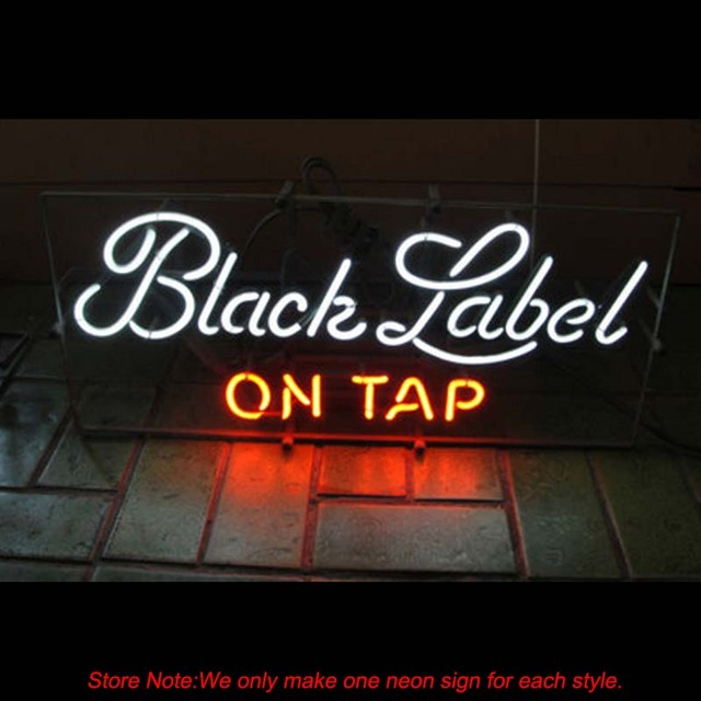 Black Label On Tap Neon Sight Real Glass Beer Pub Commercial Store Display  Handcraft Recreation Room