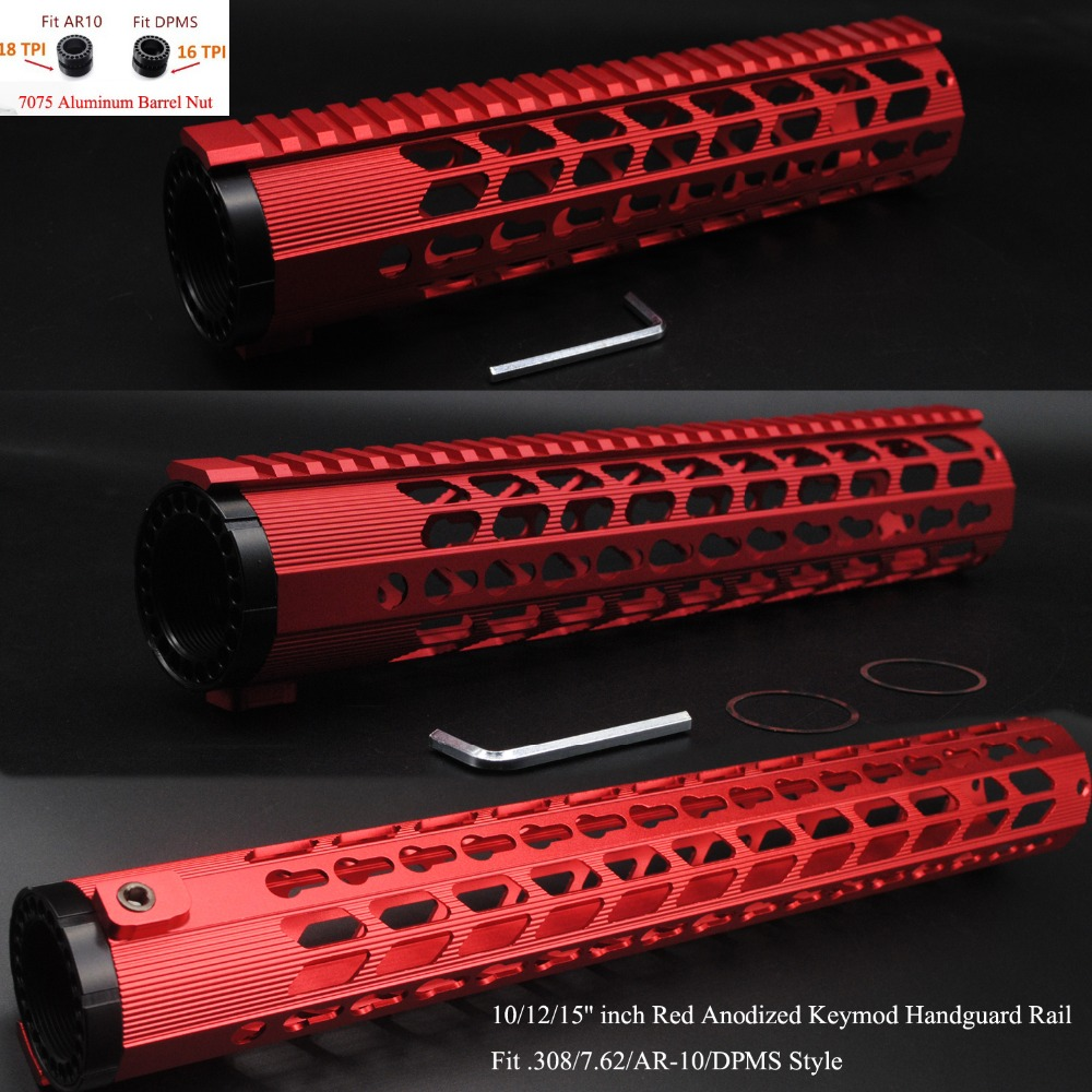 TriRock Red Anodized 10,12,15 inch Keymod Free Float Handguard Rail Monolithic Top Rail Fit .308/7.62+7075 Aluminum Barrel NutTriRock Red Anodized 10,12,15 inch Keymod Free Float Handguard Rail Monolithic Top Rail Fit .308/7.62+7075 Aluminum Barrel Nut