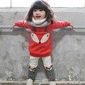 Conjuntos de Roupas de bebê meninas roupas de inverno Crianças raposa pullover outono da menina da criança agasalho esporte dos miúdos roupas definir natal
