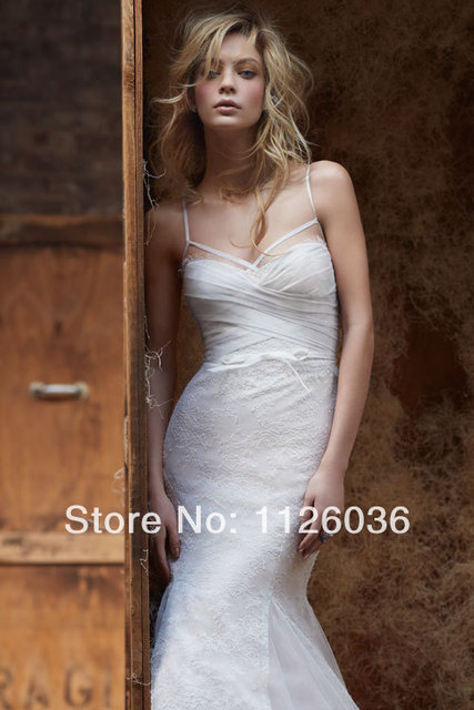 Custom hayley-paige Wedding Dress Sexy Spaghetti Strap Criss Cross Bust Low  Back Lace Mermaid Bridal Gown b34ce3dfc32c
