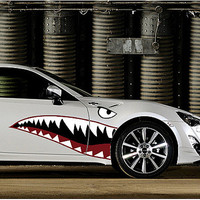 Funny Car Sticker 3D Cool shark mouth car door cover stickers Vinyl Decals Reflective Waterproof Stickers Decoration Car Styling