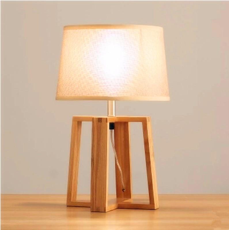 Retro High Quality Loft Vintage E27 Table Lamp Wood Cloth Light Fixture Bedside Reading Lamp