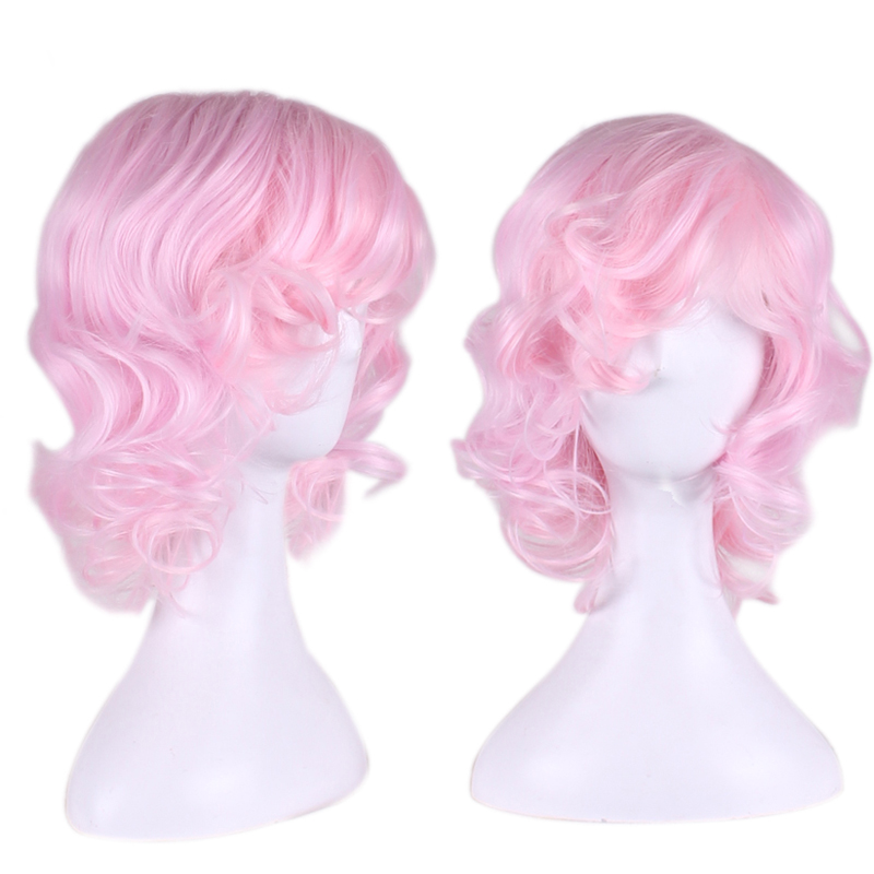 water curly pink wig cosplay anime cosplay costume wig heat resistant synthetic wigs lolita cheap wigs for women oblique bangs