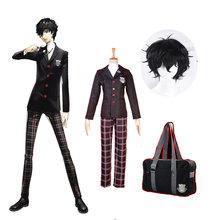 Persona 5 P5 Joker Ren Amamiya Akira Kurusu School Uniform Cosplay Costume Message Bag Black wig Full set