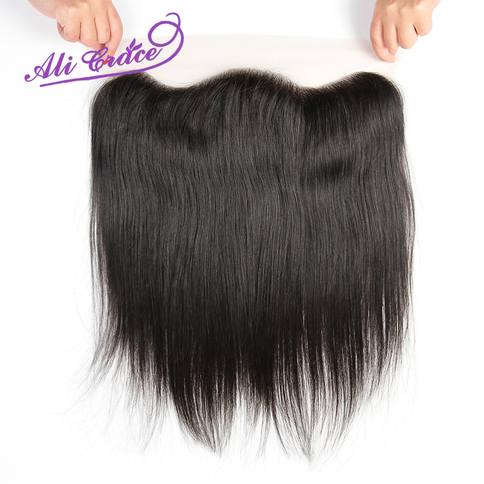 ALI GRACE Hair Peruvian Straight 13X4 Lace Frontal Middle Free Part Remy 100 Human Hair Closure