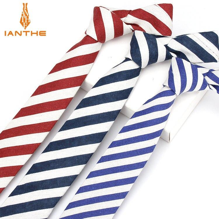 Ianthe Brand New Style Men Informal Stripe Rainbow Tie Linen Necktie Men's Fashion Neck Ties Designer Handmade Ties Gravatas
