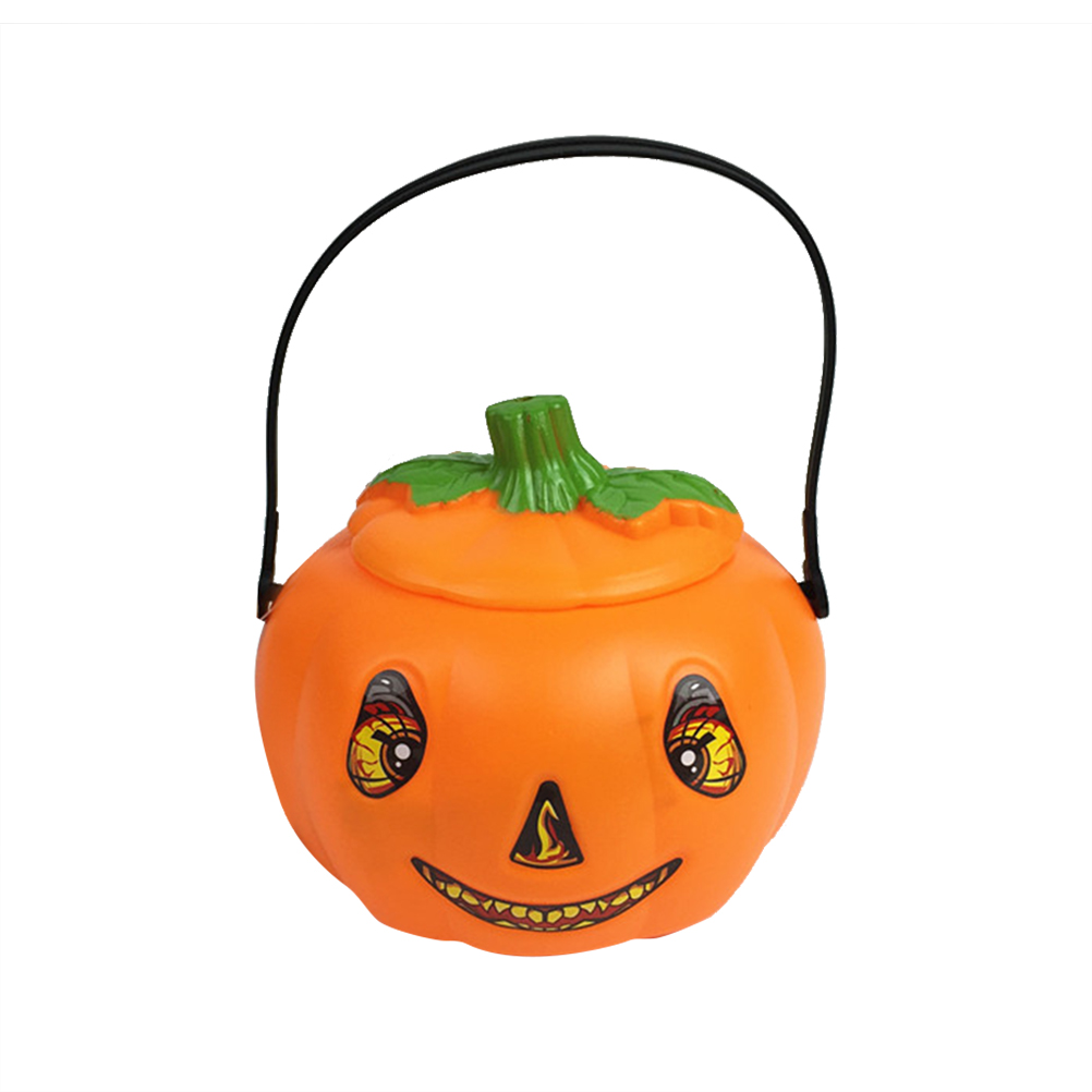 Halloween Pumpkin Bucket Gift Candy Pail Holder with Light Party Supplies Favors Decoration for Toddlers Children