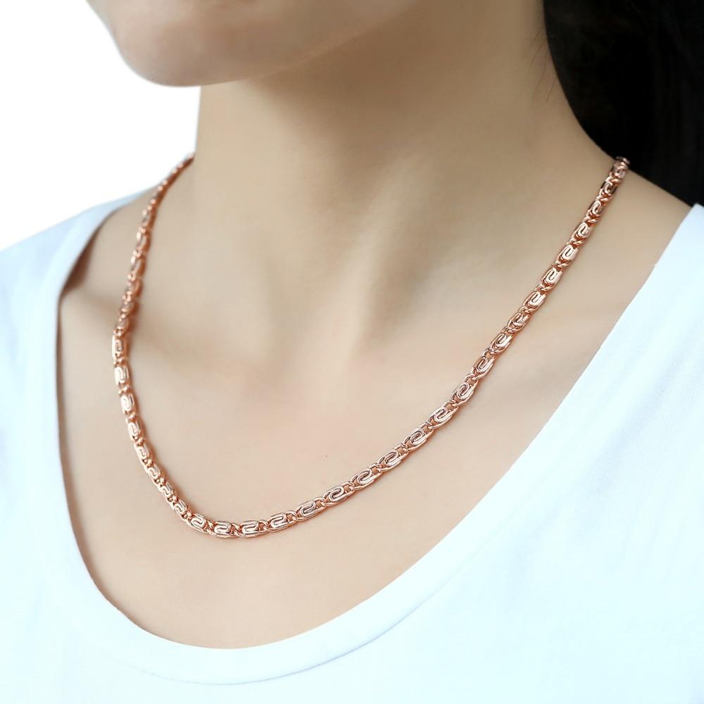 Trendsmax 4.5mm Kolye Kadınlar Kız 585 Için Gül Altın Link - Kostüm mücevherat - Fotoğraf 3