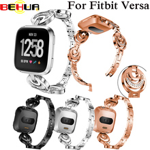 Luxury Crystal Alloy Watch Band For Fitbit versa Smart Wristband Bracelet Wearable Belt Wrist Strap with Rhinestone Replacement