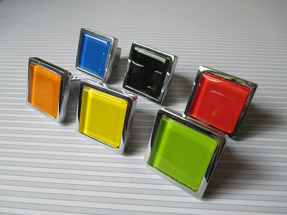 Glass Knobs / Dresser Drawer Pulls Handles Square White Black Red Yellow Green Orange  Furniture Cabinet Knobs Hardware Colorful css clear crystal glass cabinet drawer door knobs handles 30mm