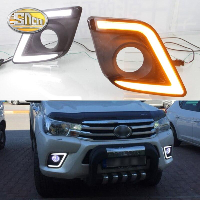 Pro Toyota Hilux Revo Vigo 2015 2016, štítek žluté signální vodotěsné pouzdro ABS 12V auto DRL LED denní světlo SNCN