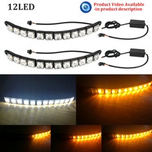 2X Car Flexible Switchback 12LED Knight Rider Strip Light for Headlight Sequential Flasher DRL Flowing Amber Turn Signal Lights