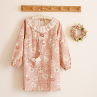 Long Sleeve Lace Apron Korean Style Anti Clothing Overalls Kitchen Cooking Draw Shop Waiter Aprons Floral Prints Bibs For Women