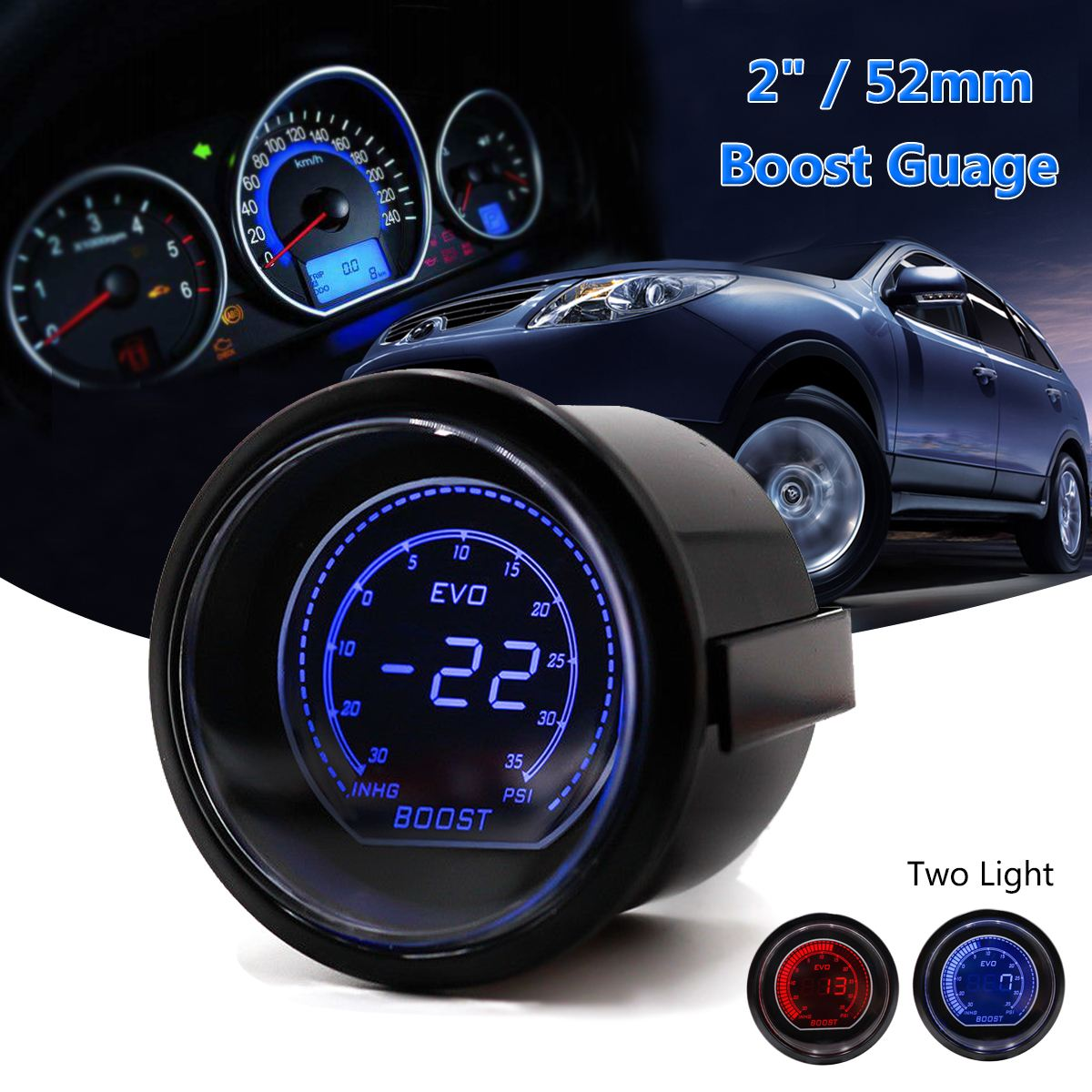 2'' 52mm Universal Turbo Car LED Vacuum Turbo Boost Gauge Meter Red Blue 35PSI cnspeed 52mm car evo digital turbo boost gauge psi meter sensor blue lcd turbo boost meter turbo pressure boost gauge ms101031