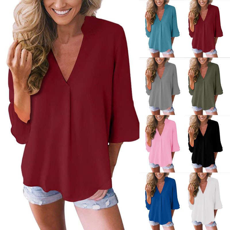 women blouse fashion female ladies clothing winter autumn womens v-neck solid loose sexy casual top shirt top