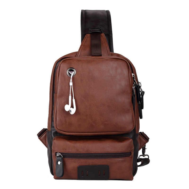 Винтажная Мужская нагрудная сумка из искусственной кожи, Повседневная модная мужская сумка-мессенджер, сумка через плечо, маленькая сумка на одно плечо