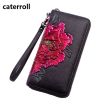 genuine leather wallet women luxury brand clutch purse floral real leather money bag long ladies wallets and purses