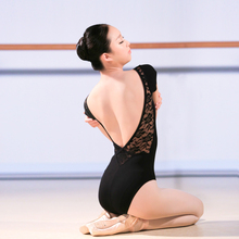 Sexy Lace Low Back Short Sleeve Ballet Leotard Women Adult Girls Cotton Gymnastics Dance Leotard Ladies Bodysuit Slim