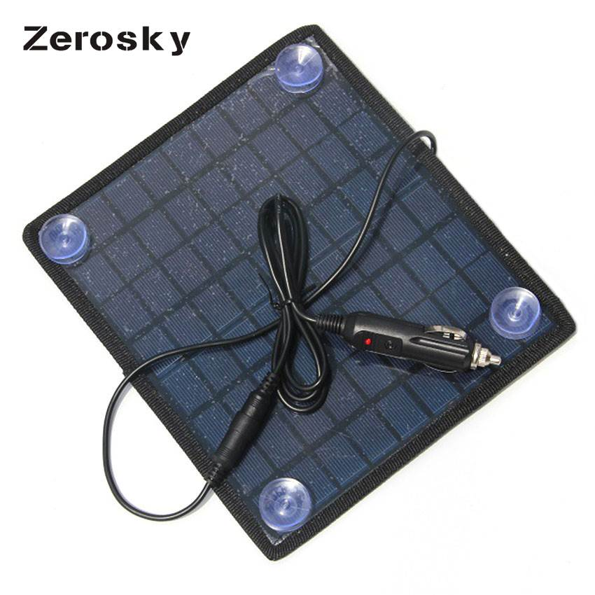 Zerosky Portable 5.5W 18V Solar Panels Polycrystalline Silicon Solar Panel Charger For 12V Car Battery Universal Rechargeable