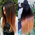 6A Grade Ombre Virgin Hair Straight Hair weaves 1 bundle Brazilian Vigin Human Hair Extension Raw Ombre Straight Soft 1B 4/30