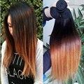 6A grado Ombre Virgin Hair cabello liso teje 1 bundle brasileño Vigin extensión del pelo humano crudos Ombre recta suave 1B 4/30