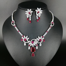 NEW FASHION romantic AAA red zircon necklace earring wedding bride banquet formal dress popular jewelry set free shipping