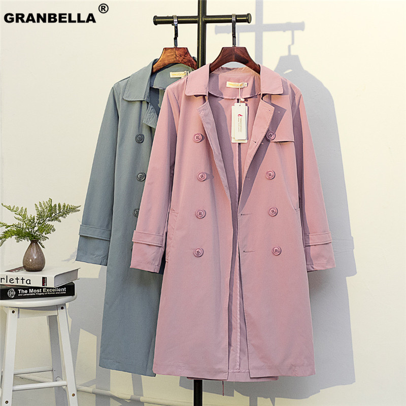 Plus Size 2XL-5XL Loose Sweet Style   Trench   Overcoat For Women Streetwear Korean Style Casual   Trench   Windbreaker With Belt