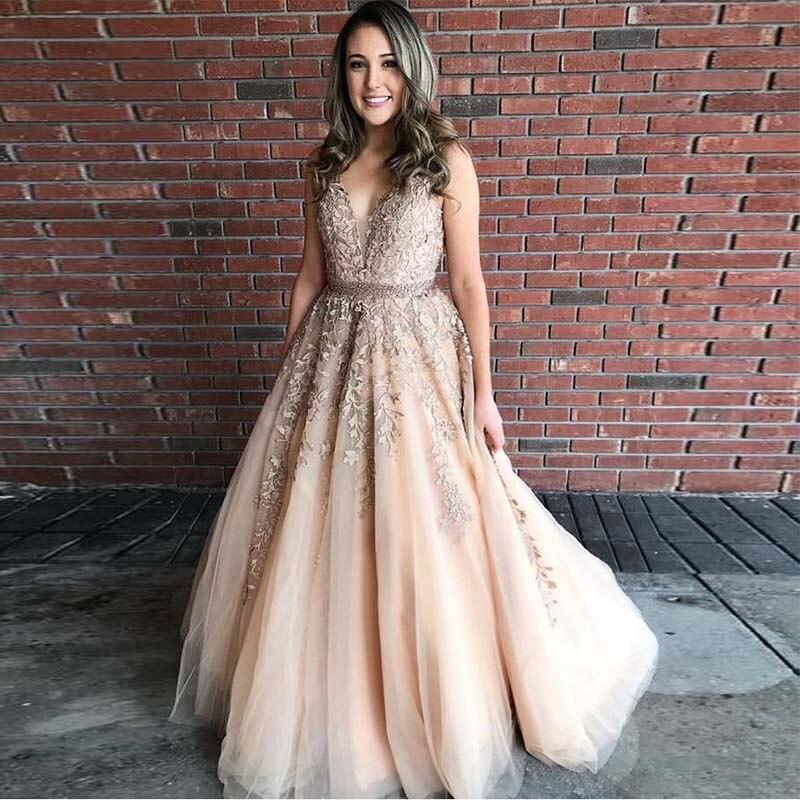 New Arrival   Prom     Dresses   V-neck Sleeveless Tulle Skirt Appliques Formal Party   Dresses   Backless Floor Length Vestidos De Formal