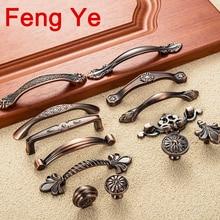 Feng Ye красная бронзовая ручка для кухонной двери Шкаф Ящики сервант античный потертый шик ручки комод ручки мебельные ручки