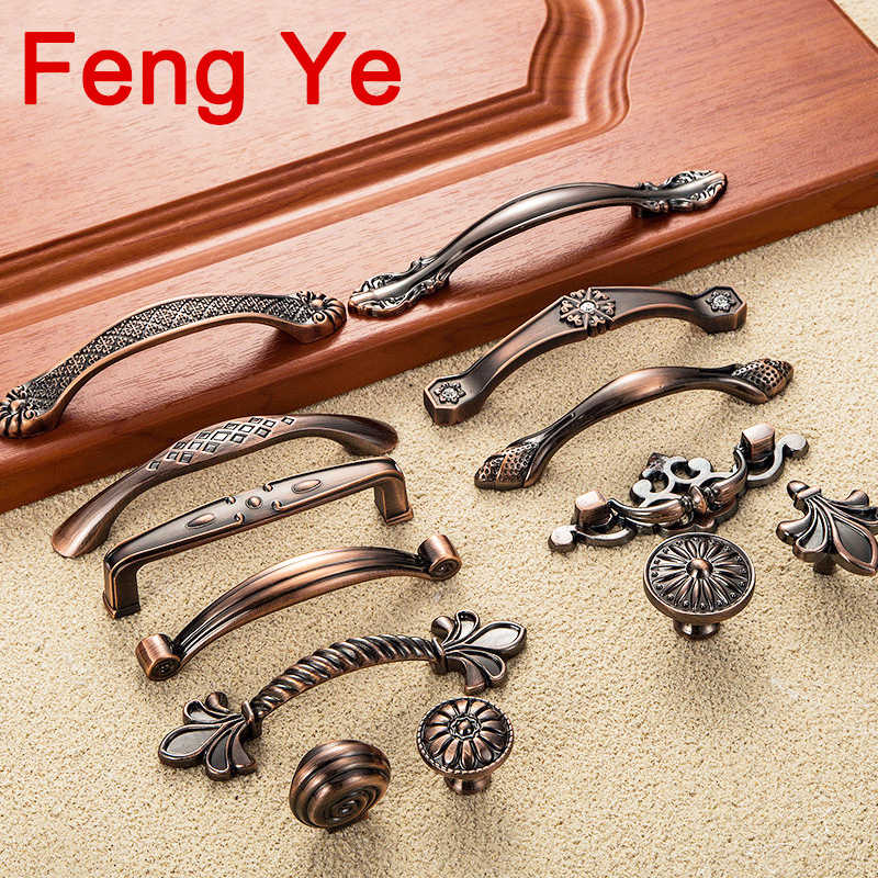 Feng Ye Red Bronze Handle Kitchen Door Knob Cabinet Drawer Closet Antique Shabby Chic Handles Dresser Knobs Furniture pulls