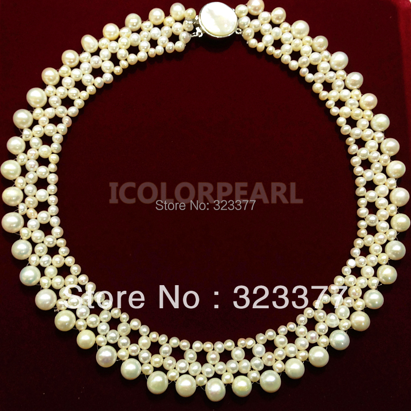 Elegant 4-8mm Round White Freshwater Pearl wedding Necklace. Noble And Classic Jewelry Gift  For Brides! Safely Shipped In Box!Elegant 4-8mm Round White Freshwater Pearl wedding Necklace. Noble And Classic Jewelry Gift  For Brides! Safely Shipped In Box!