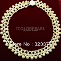 Elegant 4 8mm Round White Freshwater Pearl wedding Necklace. Noble And Classic Jewelry Gift For Brides! Safely Shipped In Box!