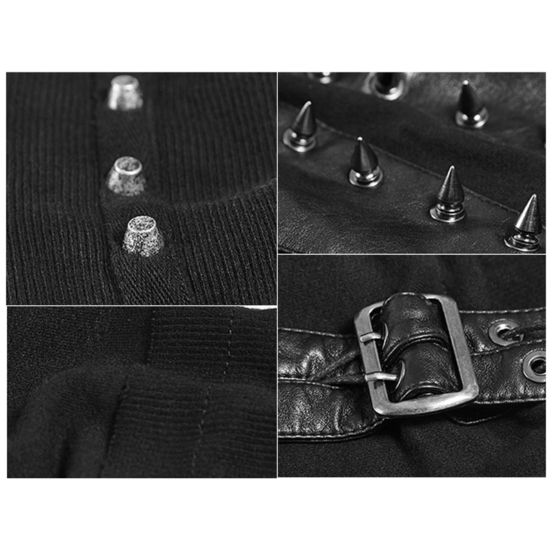 Steampunk Frau Schwarz High Neck Backless Asymmetrische Stricken T shirt Maske Stil Casual Langarm T shirt Tops - 5