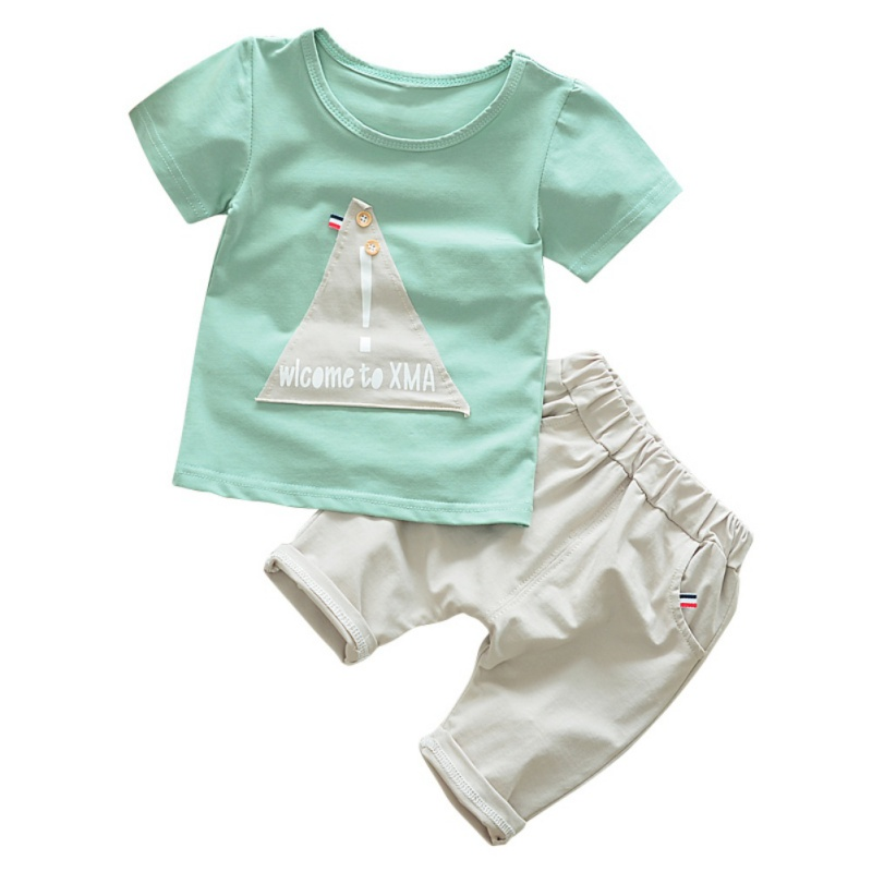 Baby Clothes Set Summer T-shirt Tops + Casual Pants Suit Kids Boy Trousers Fashion Costume 2PCs 2pcs children outfit clothes kids baby girl off shoulder cotton ruffled sleeve tops striped t shirt blue denim jeans sunsuit set