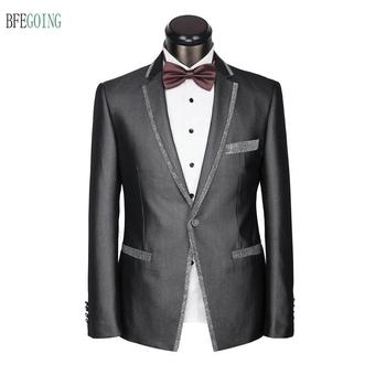 Szara krawędź regularne oblubieniec satynowe smokingi jednorzędowe garnitur pana młodego + kamizelka + spodnie + krawat na wesele wieczorne przyjęcie tanie i dobre opinie Groom wear Pojedyncze piersi Poliester BFEGOING Custom made Satin Zipper fly Mieszkanie