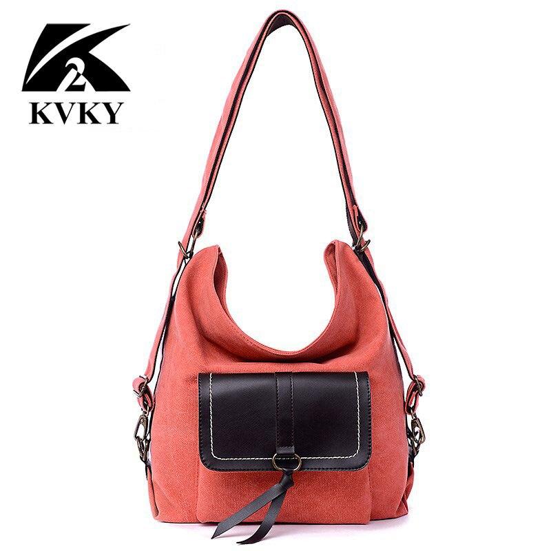 KVKY New Hot sale multifunctional canvas and PU leather women bags handbags women fashion shoulder bag bolsas feminina