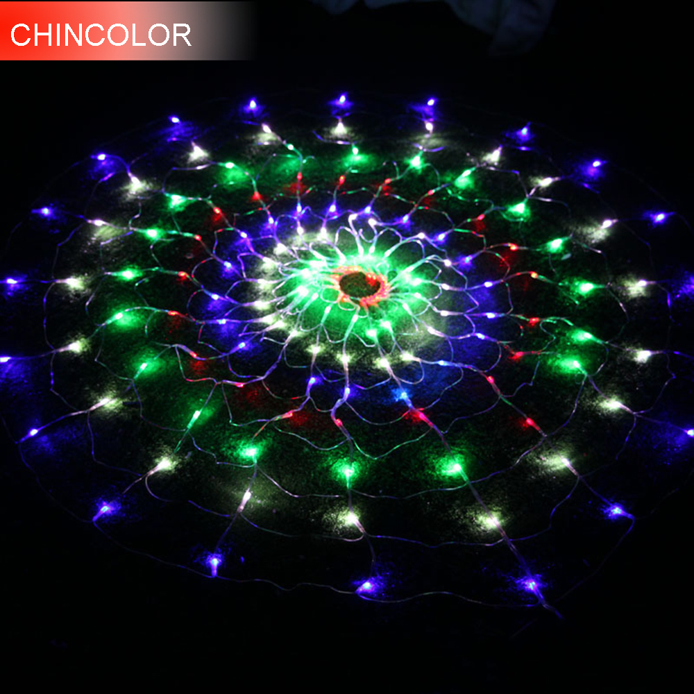 1.5*1.5m 160leds Holiday lights Novel spider Net Led Light string AC Plug Xmas christmas Garlands fairy wedding Decoration DA