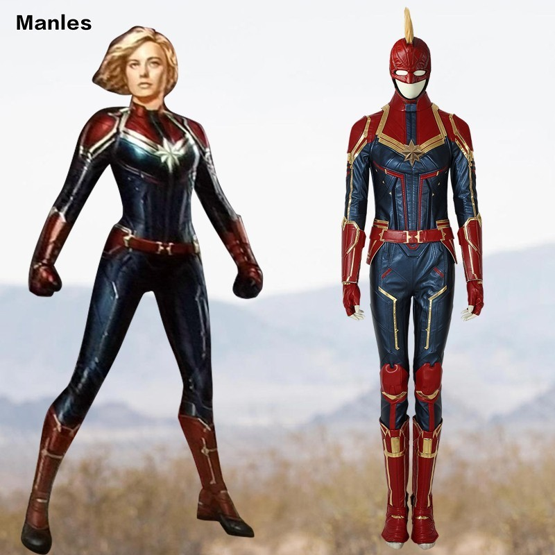 Captain Marvel Cosplay Ms Marvel Carol Danvers Costume Film Jumpsuit Comics Heroine Halloween Leather Full Set