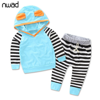 Striped Baby Girl Clothes 2016 Fashion Toddler Girls Cotton Clothing Suit Hooded Sweatshirt Tops Pants Kids