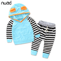 Striped Baby Girl Clothes 2017 Fashion Toddler Girls Cotton Clothing Suit Hooded Sweatshirt Tops+Pants Kids Autumn Outfits FF235