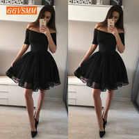 e7f248967c0 Модные Черные Короткие платье для выпускного вечера es 2019 сексуальное  платье для Бала Для женщин Boat