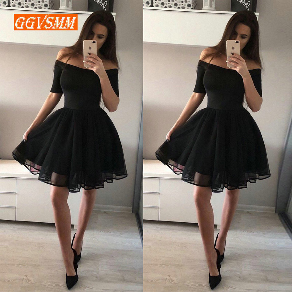 Fashion Black Short   Prom     Dresses   2018 Sexy   Prom     Dress   Women Boat-Neck Tulle Zipper Knee Length Girl Formal Graduation Party Gown