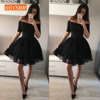 Fashion Black Short Prom Dresses 2019 Sexy Prom Dress Women Boat Neck Tulle Zipper Knee Length Girl Formal Graduation Party Gown