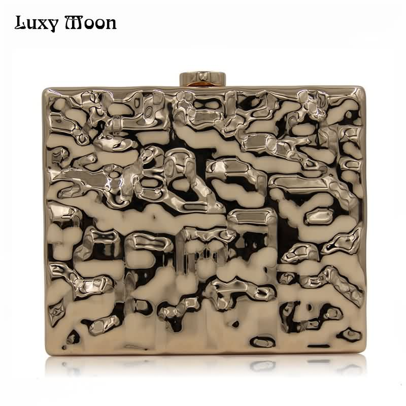 Luxy Moon Women Evening Bags Fashion Square Metal Iron Box Purse for Women Day Clutch Hard Alloy wallet Shoulder Bags ZD843