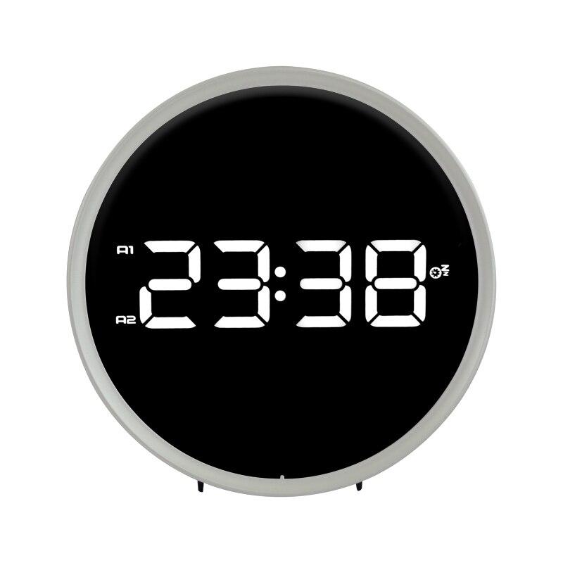 Affichage minuterie Double anneau blanc noir bureau horloge LED numérique électronique FM Radio Snooze fonction réveil Table montre